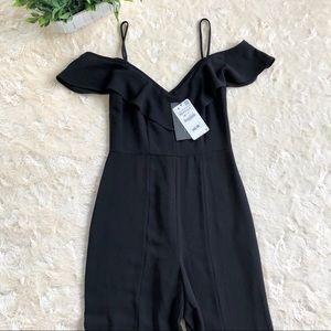 Zara black crop off shoulder ruffle jumpsuit small